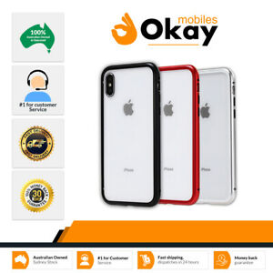 Magnetic Metal Frame Tempered Glass Phone Case Cover iPhone X XS Max 7 8 Plus 6