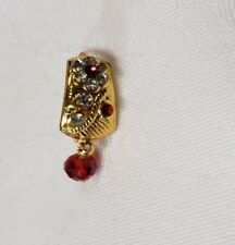 Beautiful Bollywood Style Rhinestone Red Crystal Bead Gold Dangle Nose Ring Nath