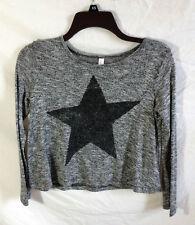 Xhilaration Metallic Gray Lightweight Star Sweater Girl's Size Large 10/12
