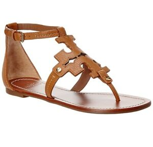 NIB Tory Burch Phoebe Leather Flat Thong Sandal Royal Tan Brown US 7 AUTHENTIC