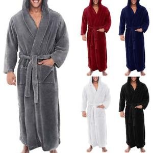 Men's Winter Warm Hooded Fleece Long Dressing Gown Bathrobe Towelling Bath Robe