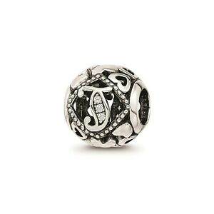 Reflection Beads Sterling Silver White CZ Cut Out Hearts Letter J Initial Bead