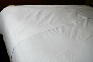 "VINTAGE WHITE LINEN HEMSTITCHED TOP SHEET 125"" BY 89"""