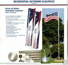 20 FT ALUMINUM FLAGPOLES BUY 1 GET 1 FREE WITH TWO 3'x5' U.S. FLAGS (NEW)