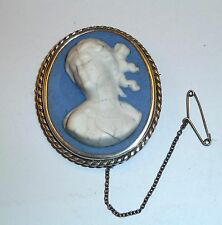 A VICTORIAN UNMARKED SILVER RAISED CAMEO BROOCH WHITE LADY AND DARK BLUE COLOUR