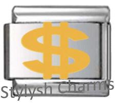 DOLLAR MONEY SIGN SYMBOL $ Enamel Italian Charm 9mm Link - 1 x NC275 Single Link