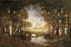 """Stunning Oil painting Gilbert Munger - Pastoral Scene (Fontainebleau) & cows 36"""""""
