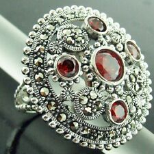 RING GENUINE REAL 925 SOLID STERLING SILVER RUBY GEM MARCASITE BEAD DESIGN