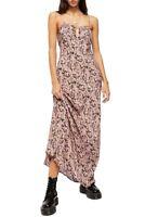 Free People Floral Bon Voyage Print Sleeveless Midi Dress XS Black Pink