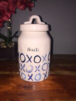 Rae Dunn Blueline Indigo Boutique SWEETS XOXO Ceramic Canister Jar DIMPLY VHTF