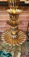 Mid Century Designer Brass Lamp Lotus Flower Monumental Hollywood Regency Vtg