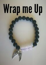 Code 501 Wrap me up Archangel wings Infused bracelet lava n amethyst 8mm Michael