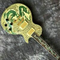 Custom Made Electric Guitar, Gray Quilted Maple Abalone Dragon, Classic 6 String