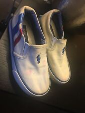 Toddler boy preowned white,blue and red ralph lauren shoes size10.5