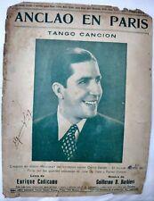 Carlos Gardel Cover Anclao En Paris Original Tango Sheet Music Argentina 1940s