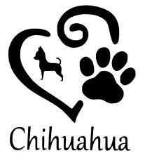 Chihuahua cœur et patte Autocollant Vinyle Autocollant Pour Voiture Van Camion Camper Bateau Mur