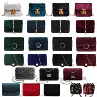 Women Shoulder Bag Velvet Messenger Quilted Satchel Chain Cross Body Purse Bags