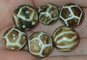 6 old Pumtek Pyu Burmese beads, 13-14.5mm, #S2153