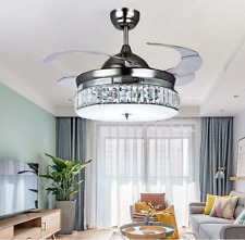 Retractable Crystal Ceiling Fans Light Remote Control Blade Invisible Lamp
