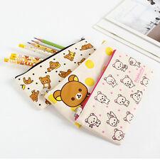 1x Lovely Rilakkuma Fabric Pencil Case Pen Zip Bag School Stationery Supplies