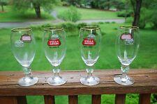 Set of 4 Stella Artois Rose Cut Chalice .4 Liter Glass
