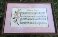 Vintage Needlepoint Amazing Grace Sheet Music Cactus Floral Framed Finished