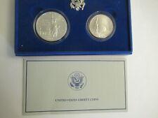 1986 US Mint UNC 2 Coin Set, Statue of Liberty, silver dollar & clad half
