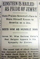1931 NY Times newspaper JUDAICA Rabbi hails Albert Einstein asTHE PRIDE of Jewry