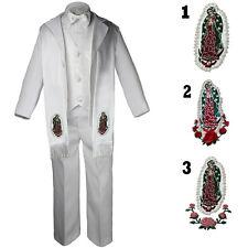 Baby Toddler Kid Boy Christening  Baptism White Formal Tuxedo W Stole Suit Sm-20