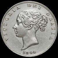 1844 Queen Victoria Young Head Silver Half Crown, GVF+