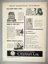 B. Shackman Co. PRINT AD - 1966 ~~ doll house, books, boats, toy, toys