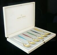 Georg Jensen Cased Silver Gilt & Enamel Coffee Spoons c.1950's