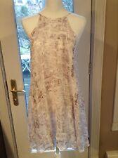 BELLA DAHL Size XS Purple White Asymmetrical Hem Lined Shear Round Neck Sundress