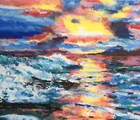 BEACH Sunset Original Fine Art PAINTING DAN BYL Modern Contemporary Large 4x5ft