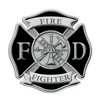 Firefighter Maltese Cross Sticker - Fire Department Black Shield FD Decal
