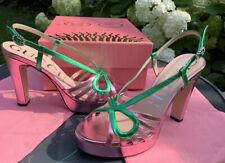 Gucci NIB Women's Zephyra Slingback High Heel Platform Sandals 39, 9M Pink/Green