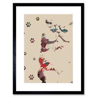 Cat Illustration Paw S Framed Wall Art Print 12X16 In