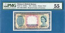 Malaya & British Borneo 1 Dollar, 1953, AUNC-PMG55, P1a