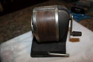 Vintage Boston Pencil Sharpener Wood grain hand crank - l