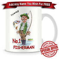 Fishing Coffee/Tea Mug + Personalized with any name added free of charge