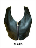 Ladies Womens Black Lambskin Leather Halter Top with Zipper Front