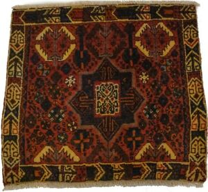 Handmade Vintage Tribal Design 2'1X2'4 Rusty Red Plush Oriental Rug Wool Carpet
