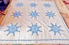 Amazing Antique Patchwork Quilt  Blue on White Bethlehem Star Pattern  C1880 VGC