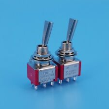 2pcs T8011 U 6pin Dpdt On On 2 Positions Flat Handle Mini Toggle Switch