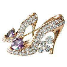 Navachi Heart-shaped Purple Zircon Shoes 18K GP Crystal Pin Brooch BH7786