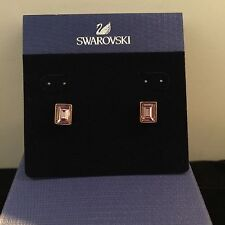 Signed Swan Swarovski Rose Gold  Pink Faceted Rectangular Pierced Earrings NEW