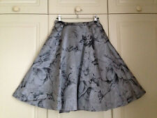 TED BAKER silver floral jacquard pleated fit & flare midi full skirt party 1 8