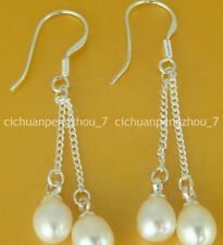 Really natural White Akoya Cultured Pearl Silver Drop Earrings