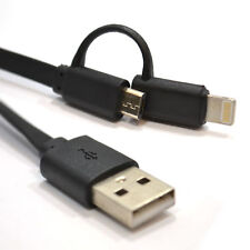 1m USB Sync/Charging Lead to Micro & Lightning 8 pin Combi Cable Black [008203]