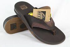 New Reef Men's Leather Fanning Flip Flop Sandals Size 9 Brown